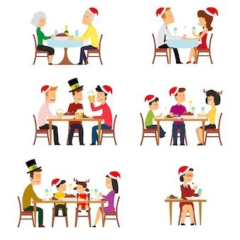 Sammlung von menschen für den urlaub mit weihnachtsessen.