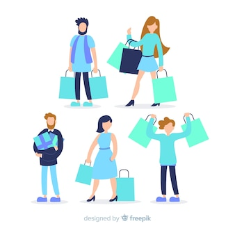 Sammlung von menschen mit einkaufstüten
