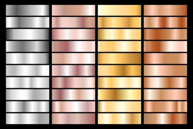 Sammlung von metallic-farbverläufen aus silber, chrom, gold, roségold und bronze.
