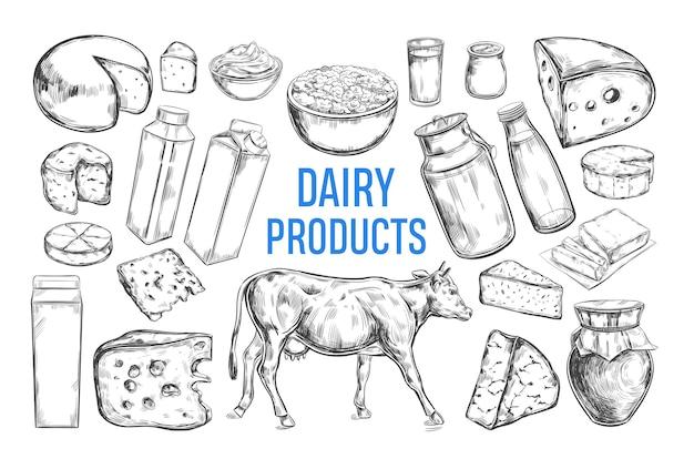 Sammlung von milchprodukten. kuh, milchprodukte, landwirtschaftliche lebensmittel