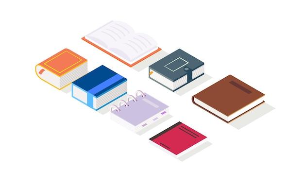 Sammlung von minibuchsymbolen oder -illustrationen in isometrischer form