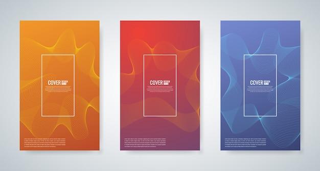 Sammlung von minimalen cover-vorlagen mit abstrakten wellenlinie, vektor-illustration