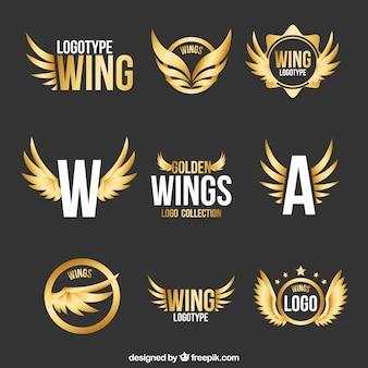 Sammlung von modernen logos von goldenen flügeln