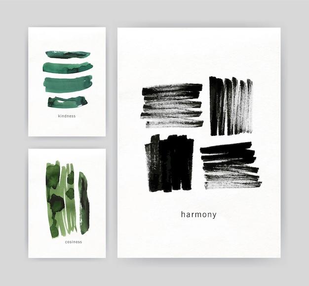 Sammlung von modernen plakat- oder fliegerschablonen mit abstrakten grünen und schwarzen pinselstrichen auf weißem hintergrund