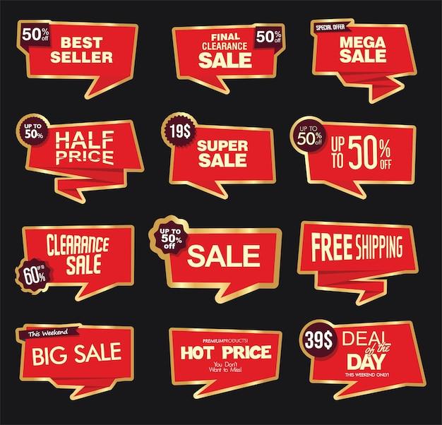 Sammlung von modernen roten verkaufsaufklebern und -anhängern