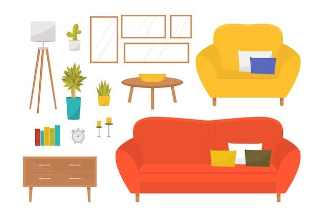 Sammlung von möbeln und accessoires für das wohnzimmer. kreieren sie ihr zuhause. gemütliches sofa und armcrair, stehlampe, wandbilder, couchtisch, zimmerpflanzen, nachttisch, bücher und kerzen.
