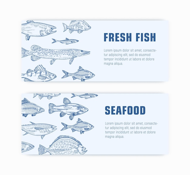 Sammlung von monochromen web-bannervorlagen mit fischhand, die mit konturlinien gezeichnet wird