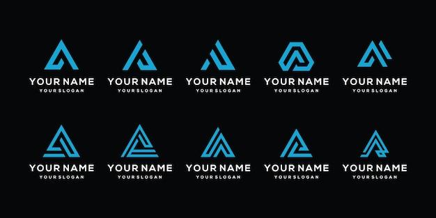 Sammlung von monogramm-anfangsbuchstaben a-set