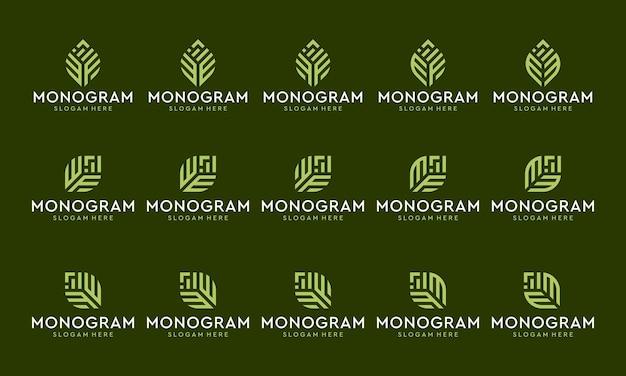 Sammlung von monogramm-logos und investitions- oder wachstumslogos.