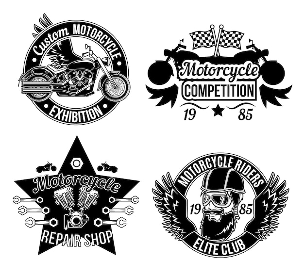 Sammlung von motorradausstellungsabzeichen
