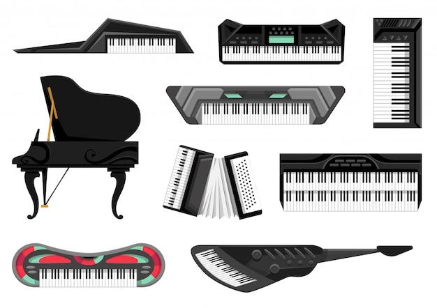 Sammlung von musikalischen tasteninstrumenten. isolierte symbole setzen musiktastaturen auf weißem hintergrund. musikerausrüstungen. werkzeuge für musikliebhaber