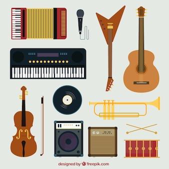 Sammlung von musikinstrumenten