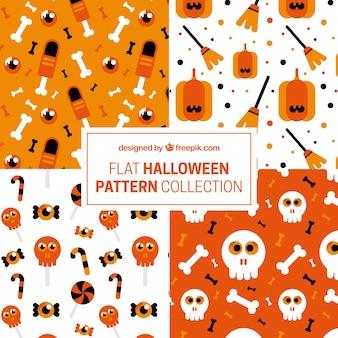 Sammlung von mustern in flachen stil für halloween