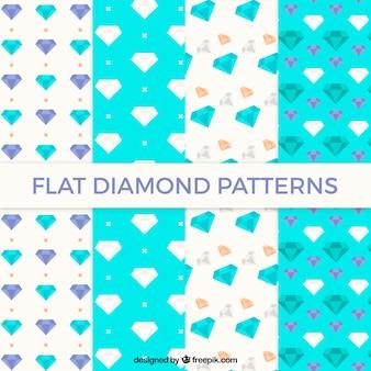 Sammlung von mustern mit farbigen diamanten in flacher bauform