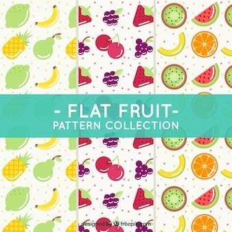 Sammlung von mustern von früchten in flachem design