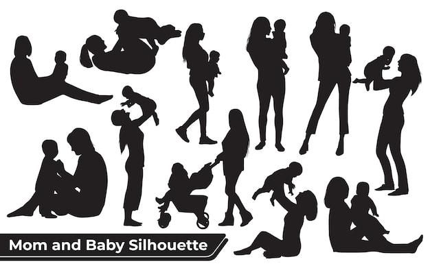 Sammlung von mutter- und babysilhouetten in verschiedenen posen