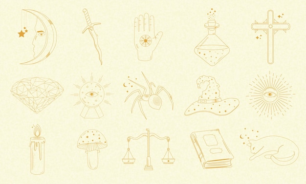 Sammlung von mystischen und astrologischen objekten, katze, buch, kerze, schwert, magischer ball, sonne, spinne und anderen, menschlichen händen.