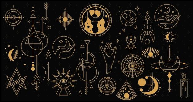 Sammlung von mystischen und geheimnisvollen objekten im vintage-boho-stil. esoterische symbole