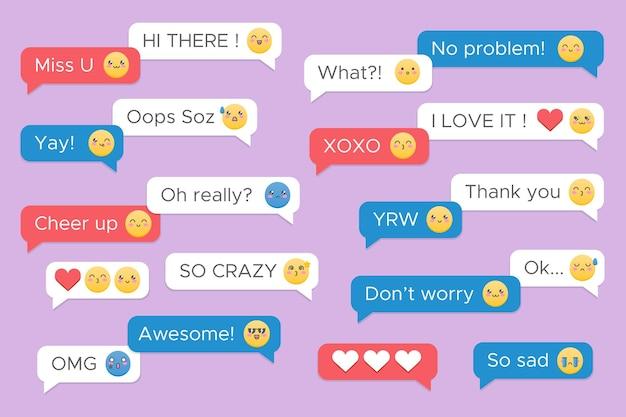 Sammlung von nachrichten mit niedlichen emojis