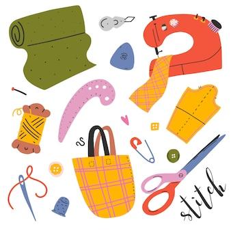 Sammlung von nähwerkzeugen und zubehör