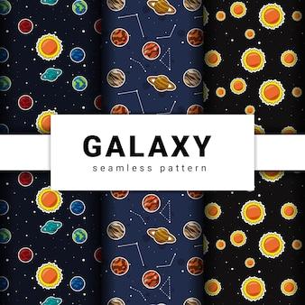 Sammlung von nahtlosen galaxienmuster. sammlung von planetenmuster