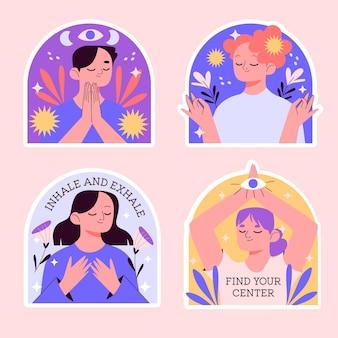 Sammlung von naiven meditationsaufklebern Premium Vektoren