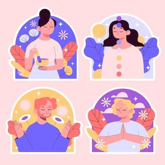 Sammlung von naiven meditationsaufklebern