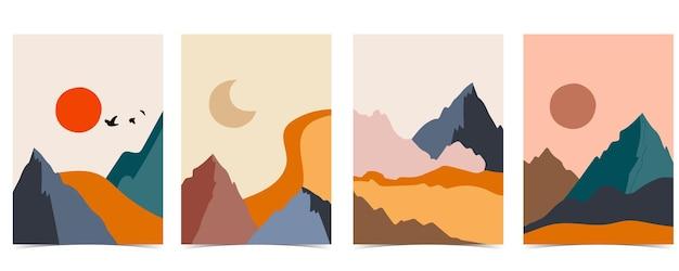 Sammlung von naturlandschaftshintergrund mit berg, meer, sonne, mond. bearbeitbare vektorgrafik für website, einladung, postkarte und poster