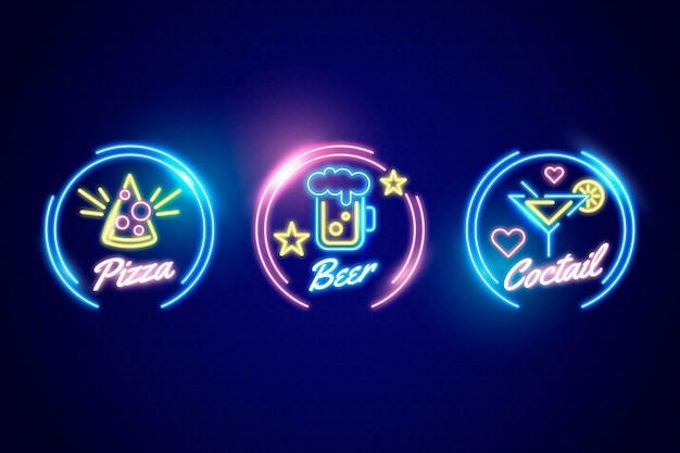 Sammlung von neon-pub- und restaurant-schildern