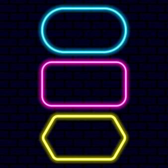 Sammlung von neonrahmen isoliert auf schwarz