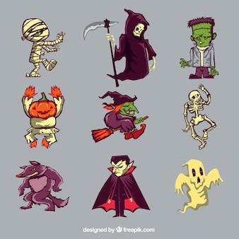Sammlung von neun charakteren von halloween