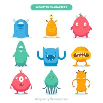 Sammlung von neun monstern