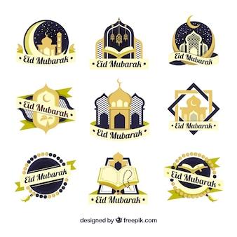 Sammlung von neun ramadan-etiketten