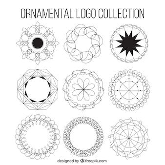 Sammlung von neun runde zier logos