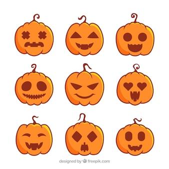Sammlung von neun verschiedenen halloween kürbisse