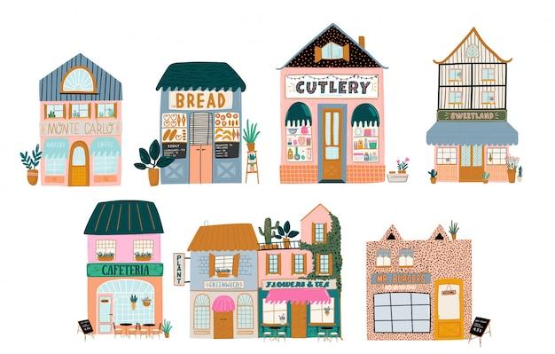 Sammlung von niedlichem haus, geschäft, geschäft, café und restaurant auf weißem hintergrund. illustration im trendigen skandinavischen stil. europäische stadt
