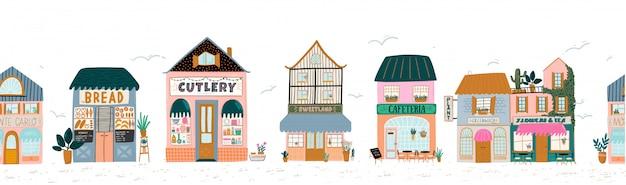 Sammlung von niedlichem haus, geschäft, geschäft, café und restaurant lokalisiert auf weiß