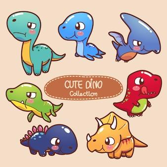 Sammlung von niedlichen dinosauriern