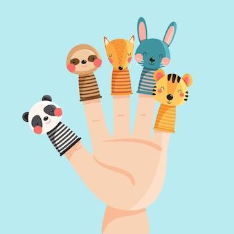 Sammlung von niedlichen fingerpuppen für kinder