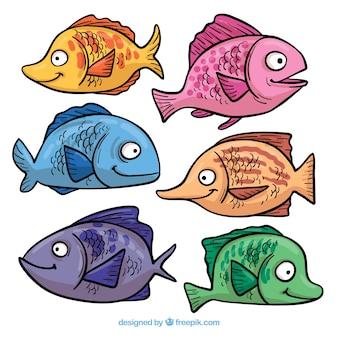 Sammlung von niedlichen fischen