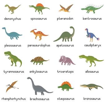 Sammlung von niedlichen flachen dinosauriern