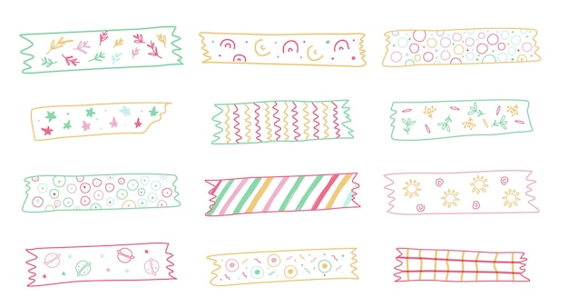 Sammlung von niedlichen gezeichneten washi bändern