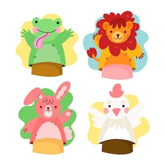 Sammlung von niedlichen handpuppen für kinder