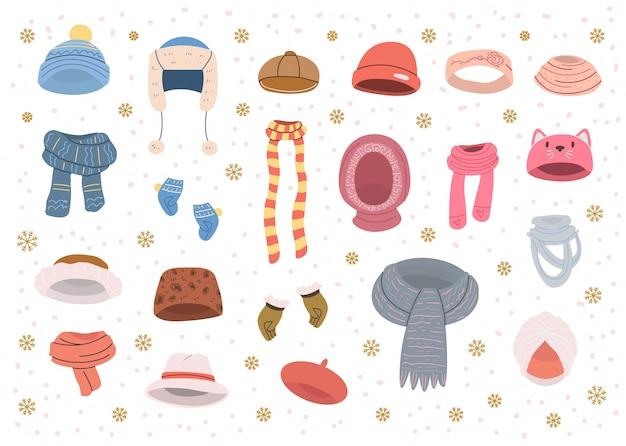 Sammlung von niedlichen hüten und schals für kaltes winterwetter