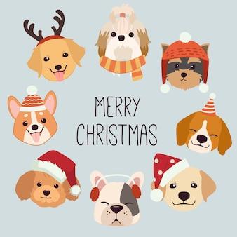 Sammlung von niedlichen hund mit weihnachten und winter zubehör und gruß