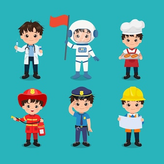Sammlung von niedlichen jungen in verschiedenen berufen tag der arbeit clipart flache vektor-cartoon-design