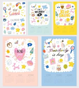 Sammlung von niedlichen kalendervorlage