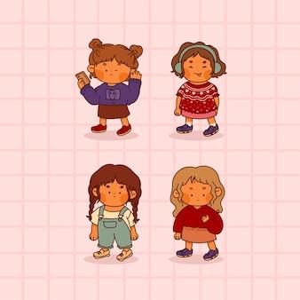 Sammlung von niedlichen kindern mit mode lokalisiert auf rosa