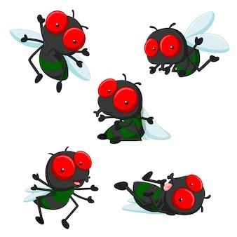 Sammlung von niedlichen kleinen cartoon-fliegen
