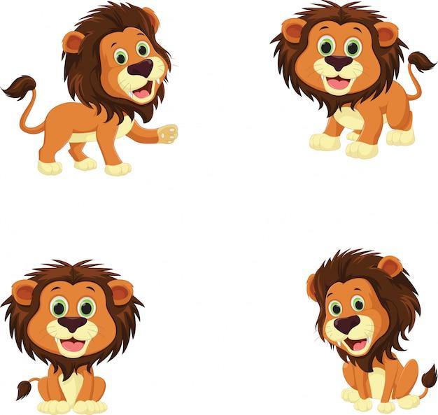 Sammlung von niedlichen löwe-cartoon